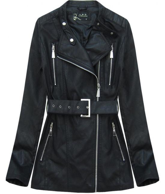 Dámska koženková bunda s opaskom MODA125 čierna