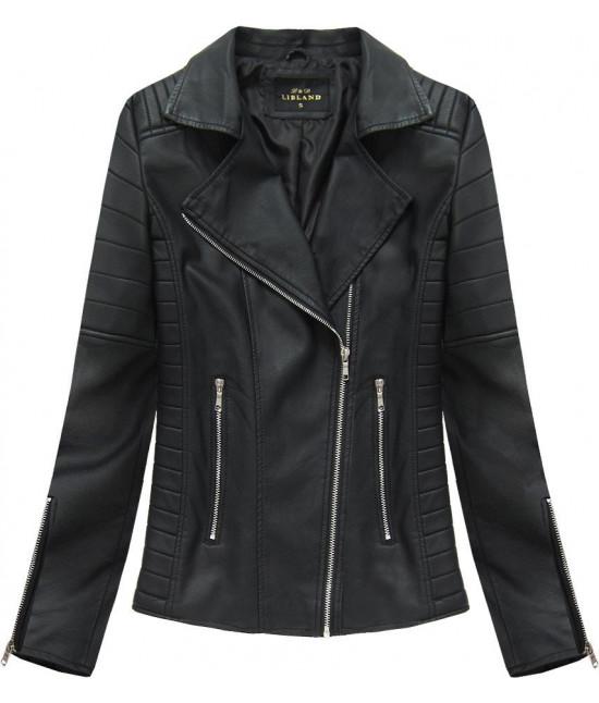 Dámska koženková bunda MODA312 čierna