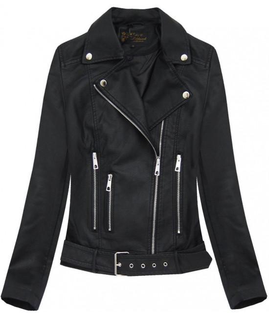 Dámska koženková bunda MODA391 čierna