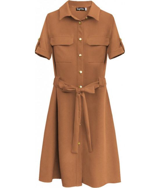Dámske šaty s opaskom MODA292 hnedé