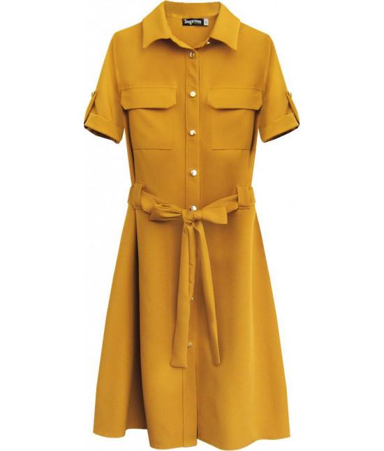 Dámske šaty s opaskom MODA292 horčicové