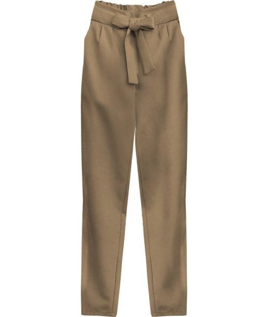 Dámske nohavice s viazaním v páse MODA295 karamelové