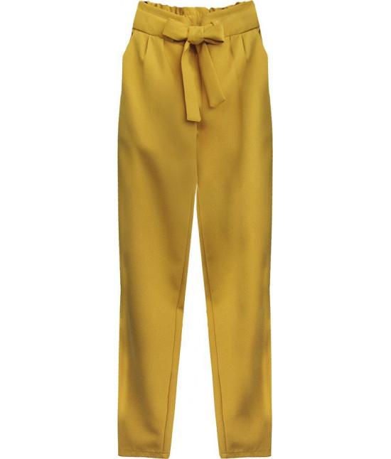 Dámske nohavice s viazaním v páse MODA295 horčicové
