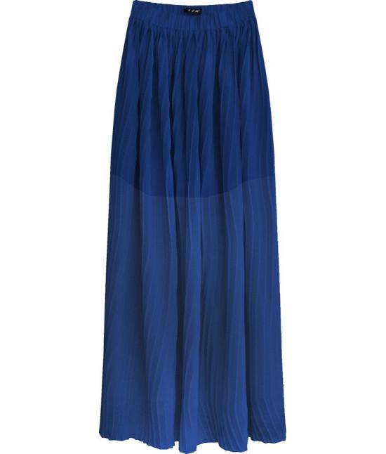 Plisovaná maxi sukňa MODA237 modrá