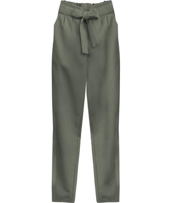 Dámske nohavice s viazaním v páse MODA295 khaki