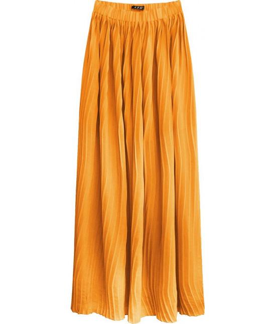 Plisovaná maxi sukňa MODA237 pomarančová