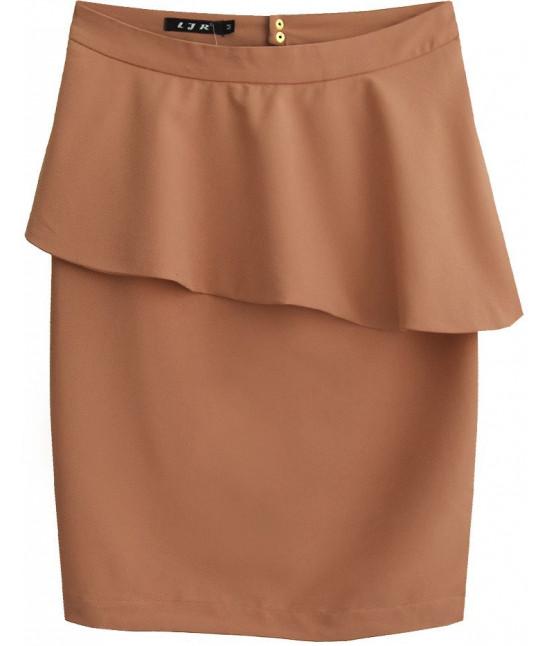 Dámska sukňa s volánom MODA141 hnedá