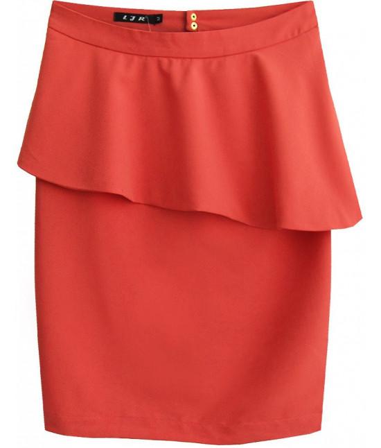 Dámska sukňa s volánom MODA141 korálová