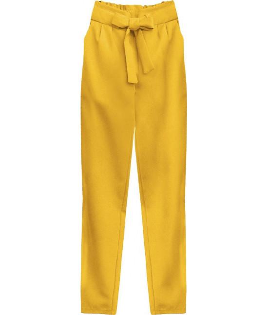 Dámske nohavice s viazaním v páse MODA295 žlté