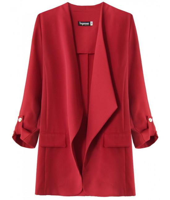 Dámsky kabátik s 3/4 rukávmi MODA268 červený 2