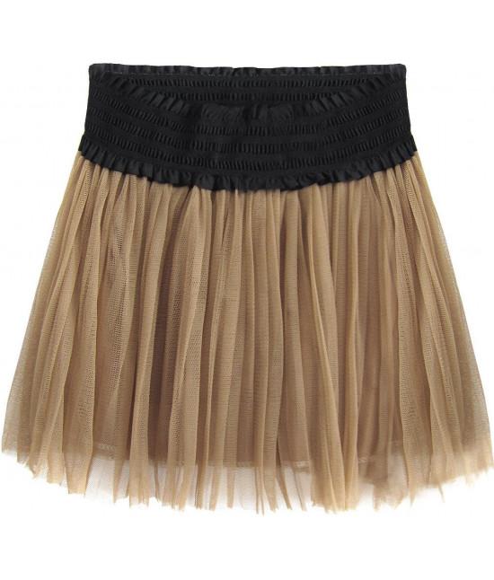 Dámska plisovaná sukňa MODA311 karamelová