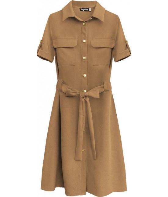 Dámske šaty s opaskom MODA292 karamelové