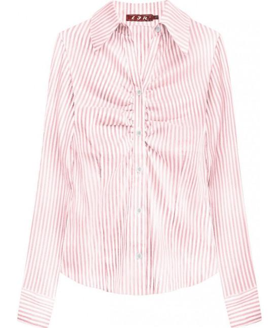 Elegantná dámska košeľa MODA084 bielo-ružová