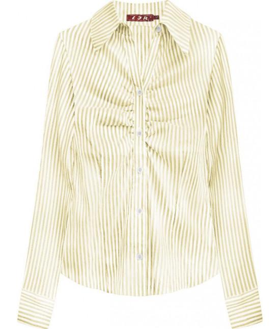 Elegantná dámska košeľa MODA084 bielo-žltá