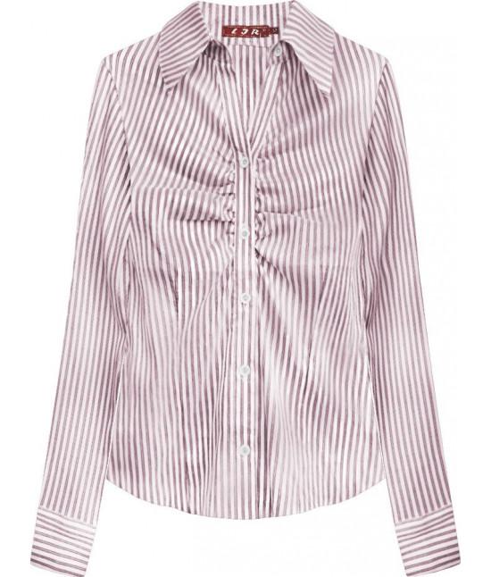Elegantná dámska košeľa MODA084 bielo-bordová