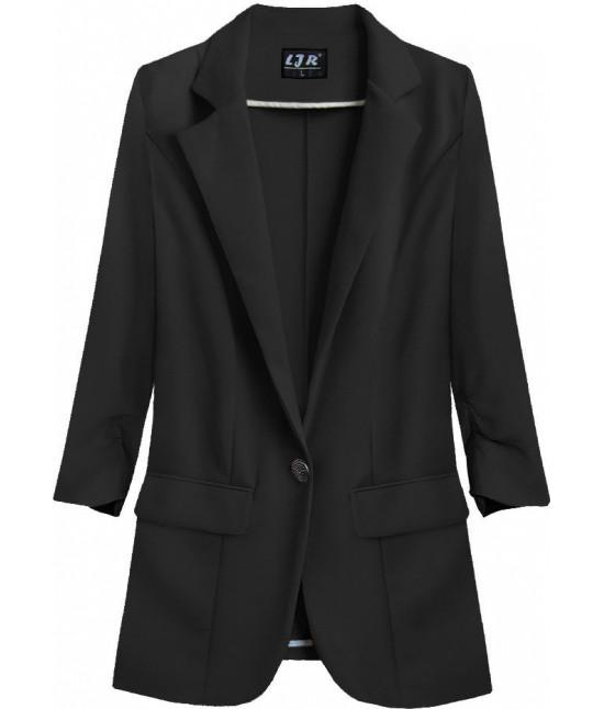 Dámske sako s krčenými rukávmi MODA192 čierne
