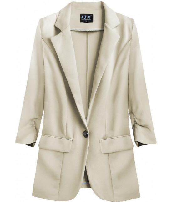 Dámske sako s krčenými rukávmi MODA192 béžové