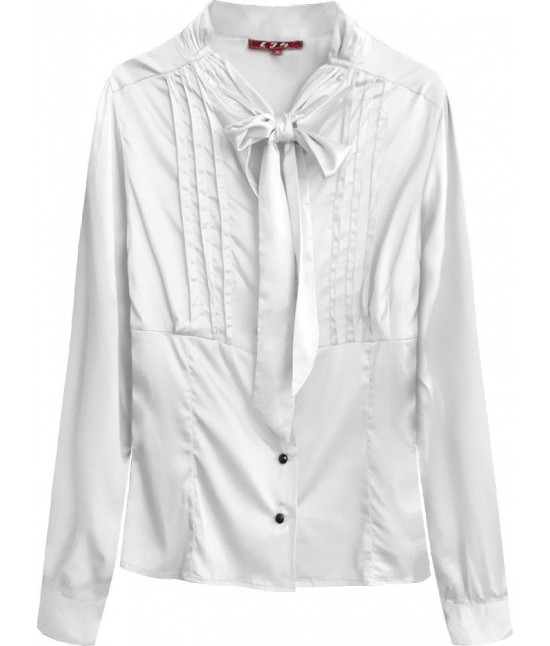 Dámska saténová košeľa s viazaním MODA066 biela