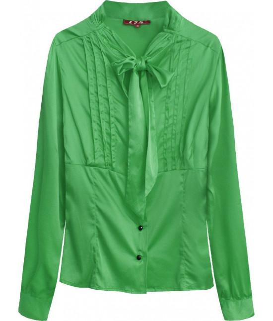 Dámska saténová košeľa s viazaním MODA066 zelená