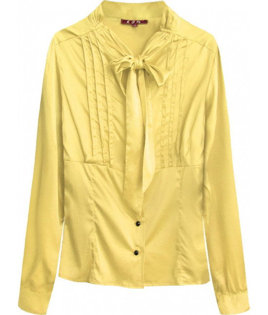 Dámska saténová košeľa s viazaním MODA066 žltá