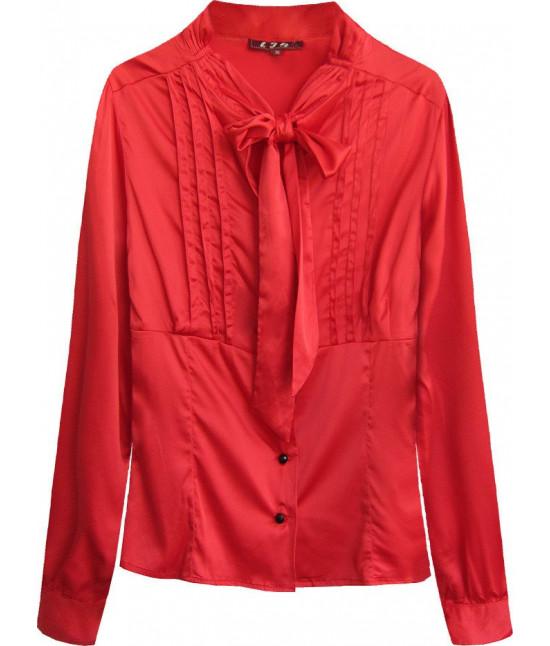 Dámska saténová košeľa s viazaním MODA066 červená