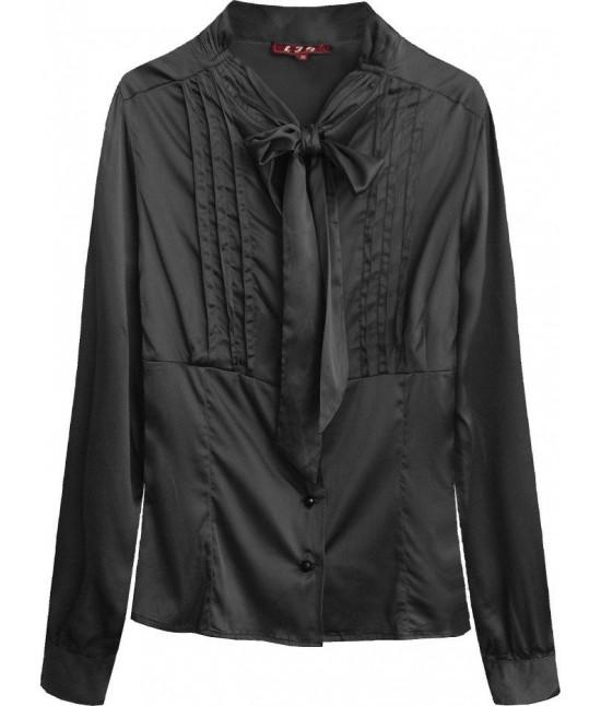 Dámska saténová košeľa s viazaním MODA066 čierna
