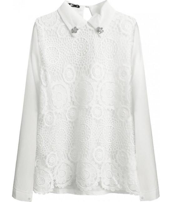 Elegantná dámska blúzka s golierom MODA316 biela