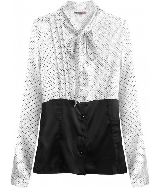 Dámska saténová košeľa s viazaním MODA066/1 čierno-biela