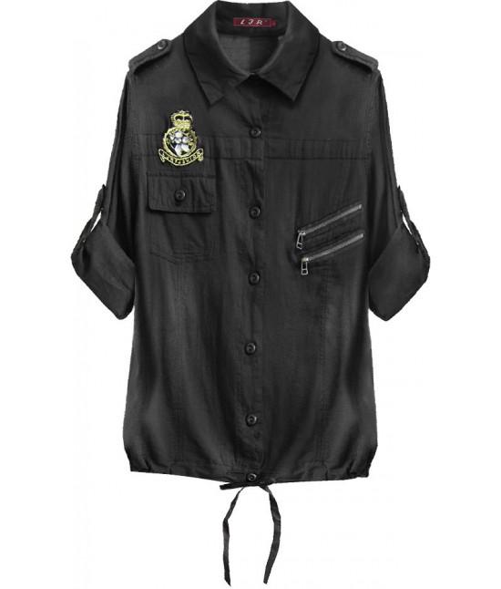 Bavlnená dámska košeľa MODA010 čierna