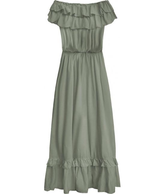 0ace91d153 Dámske dlhé šaty MODA344 khaki - Dámske oblečenie