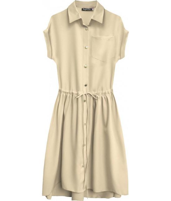 c05023971089 Dámske košeľové šaty MODA339 béžové - Dámske oblečenie