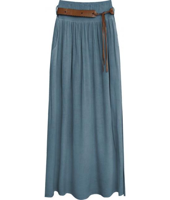 Dámska sukňa s opaskom MODA343 tmavomodrá