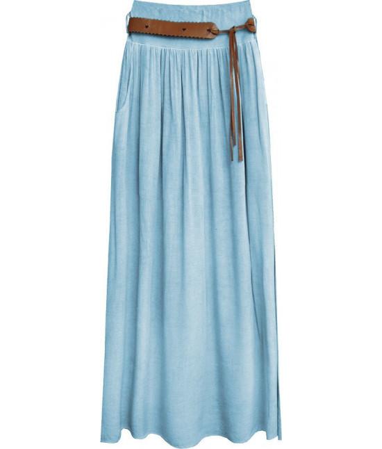 Dámska sukňa s opaskom MODA343 svetlomodrá
