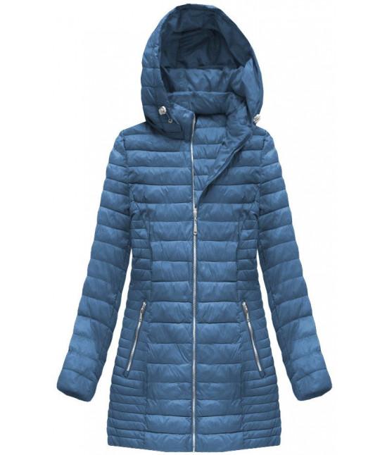 7b28c9bac6bf Dámska dlhá jarná bunda MODA070 modrá veľkosť 5XL