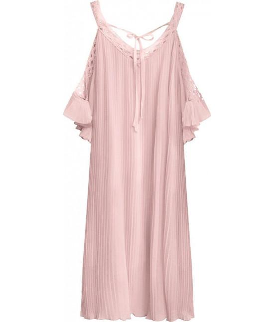 Dámske plisované šaty MODA342 lososové