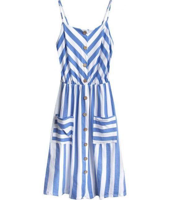 e79e5fc0ee96 Dámske bavlnené šaty MODA396 bielo-modré - Dámske oblečenie