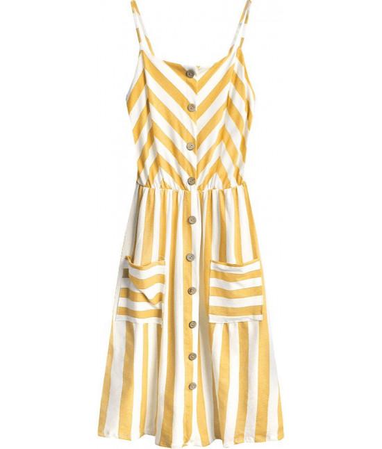 Dámske bavlnené šaty MODA396 bielo-horčicové