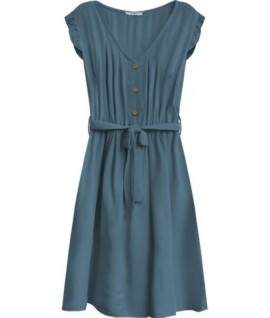 Dámske šaty midi s gombíkmi MODA395 svetlomodré