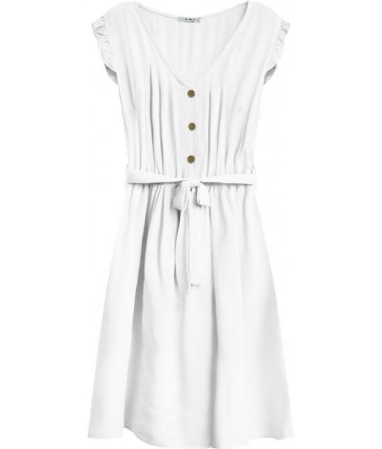 Dámske šaty midi s gombíkmi MODA395 biele