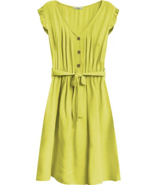 Dámske šaty midi s gombíkmi MODA395 žlté