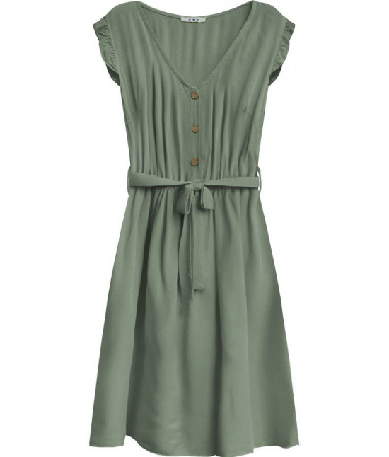 Dámske šaty midi s gombíkmi MODA395 khaki