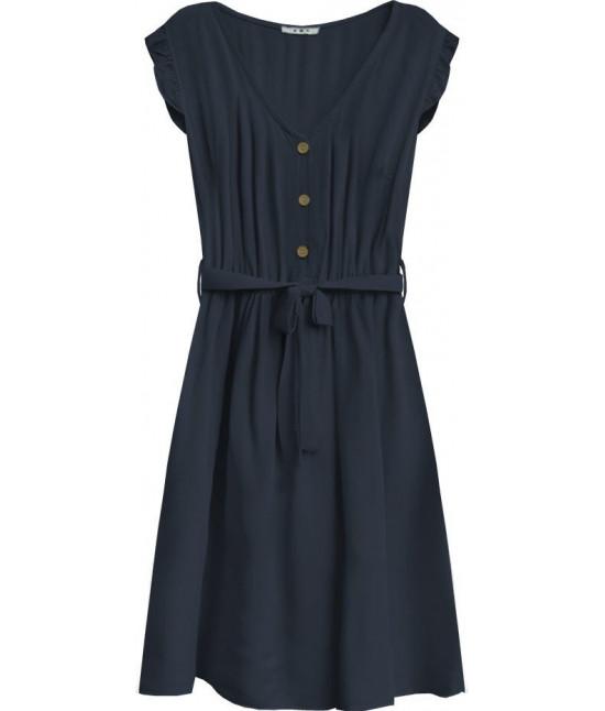 Dámske šaty midi s gombíkmi MODA395 tmavomodré