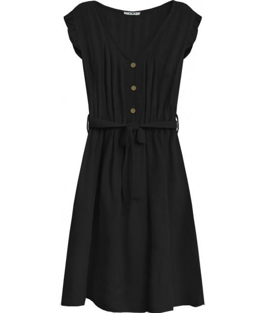 Dámske šaty midi s gombíkmi MODA395 čierne