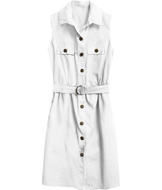 Dámske košeľové šaty MODA397 biele