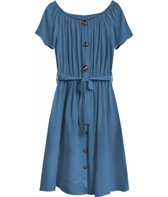 Dámske bavlnené midi šaty MODA398 modré