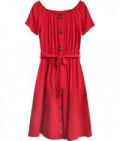 Dámske bavlnené midi šaty MODA398 červené