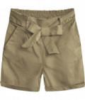 Dámske šortky s vysokým pásom MODA386 béžové