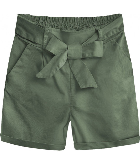 Dámske šortky s vysokým pásom MODA386 khaki
