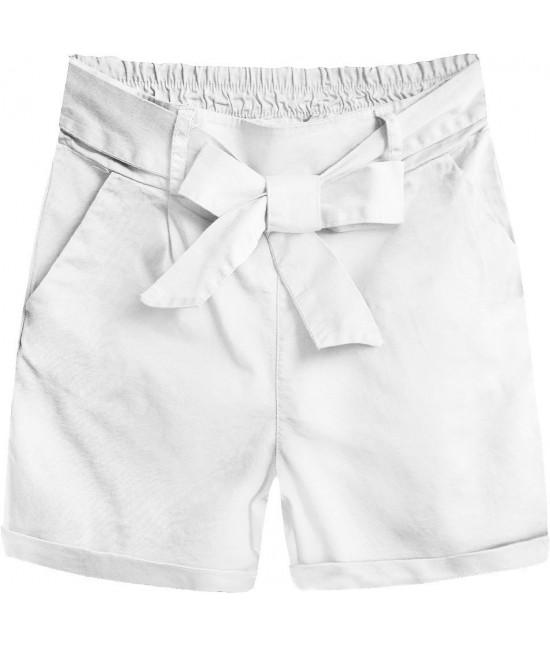 Dámske šortky s vysokým pásom MODA386 biele