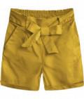 Dámske šortky s vysokým pásom MODA386 horčicové